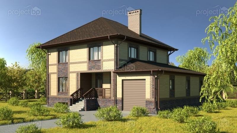 Проект двухэтажного дома с подвалом и большим гаражом 275-C